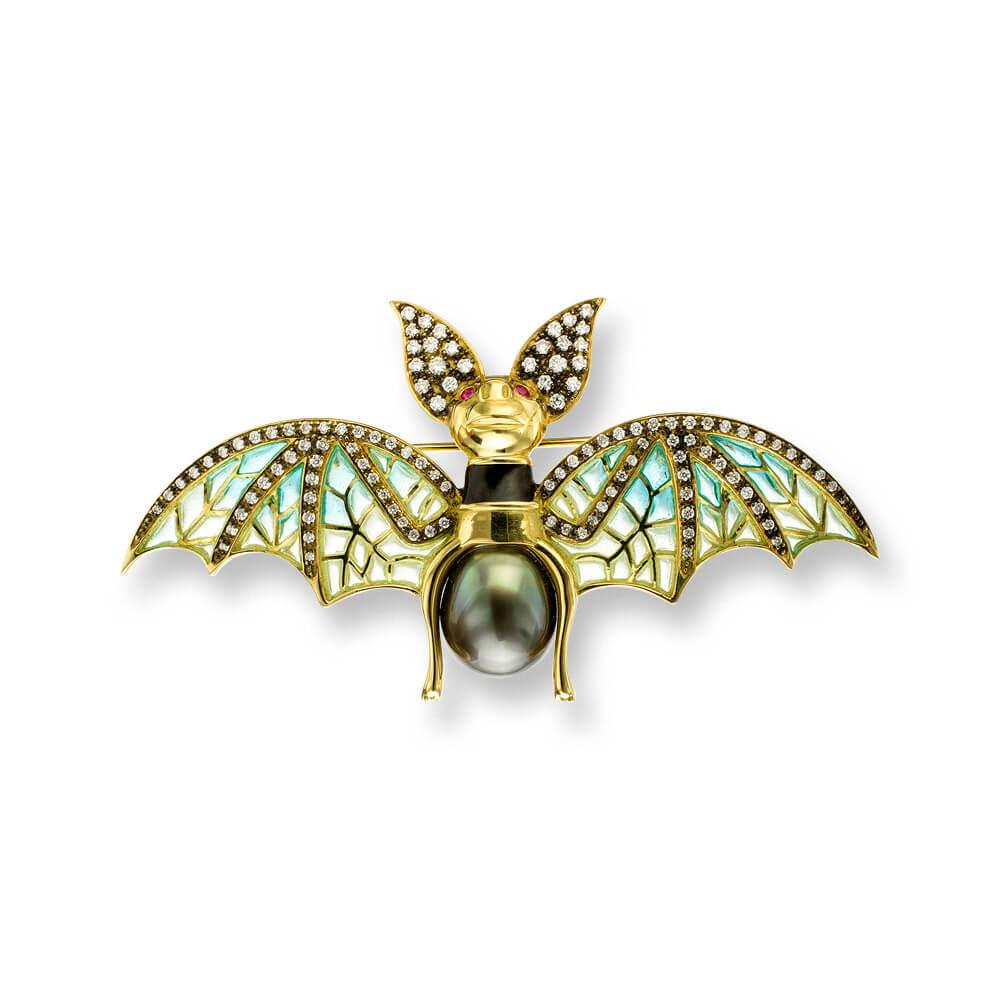 18ct Gold Plique-a-Jour Vitreous Enamel Bat Pendant Set With 0.64ct Of Diamonds & Tahitian Pearl Body