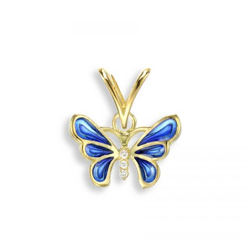 18ct Gold Plique-a-Jour Vitreous Blue Enamel Diamond Set Butterfly Pendant.