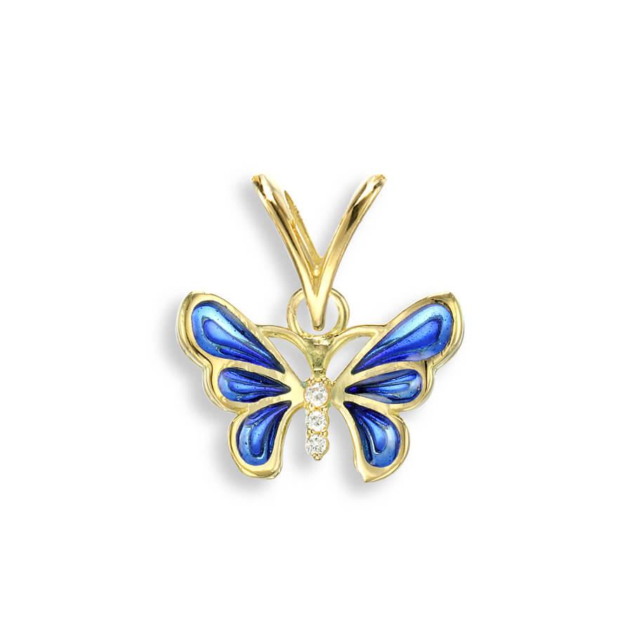 18ct Gold Plique-a-Jour Vitreous Blue Enamel Diamond Set Butterfly Pendant.