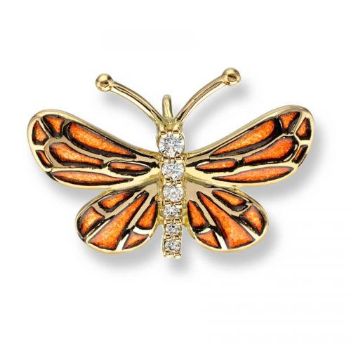 18ct Gold Plique-a-Jour Vitreous Orange Enamel Diamond Set Small Butterfly Pendant
