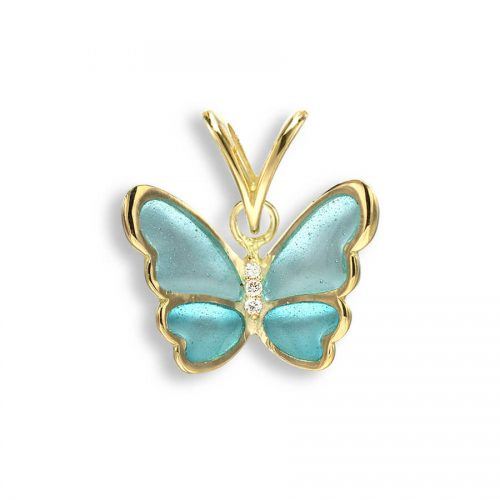18ct Gold Plique-a-Jour Vitreous Turquoise Enamel Diamond Set Small Butterfly Pendant.