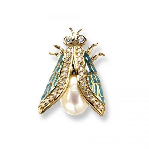 18ct Gold Plique-a-Jour Vitreous Blue Enamel Cicada Diamond & Pearl Set Lapel Pin