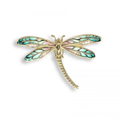 Vitreous Plique-a-Jour Green Enamel on 18ct Yellow Gold Dragonfly Pendant Set with Diamonds