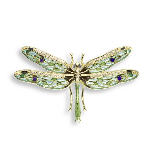 18ct Gold Plique-a-Jour Vitreous Green Enamel Diamond Set Dragonfly Pendant