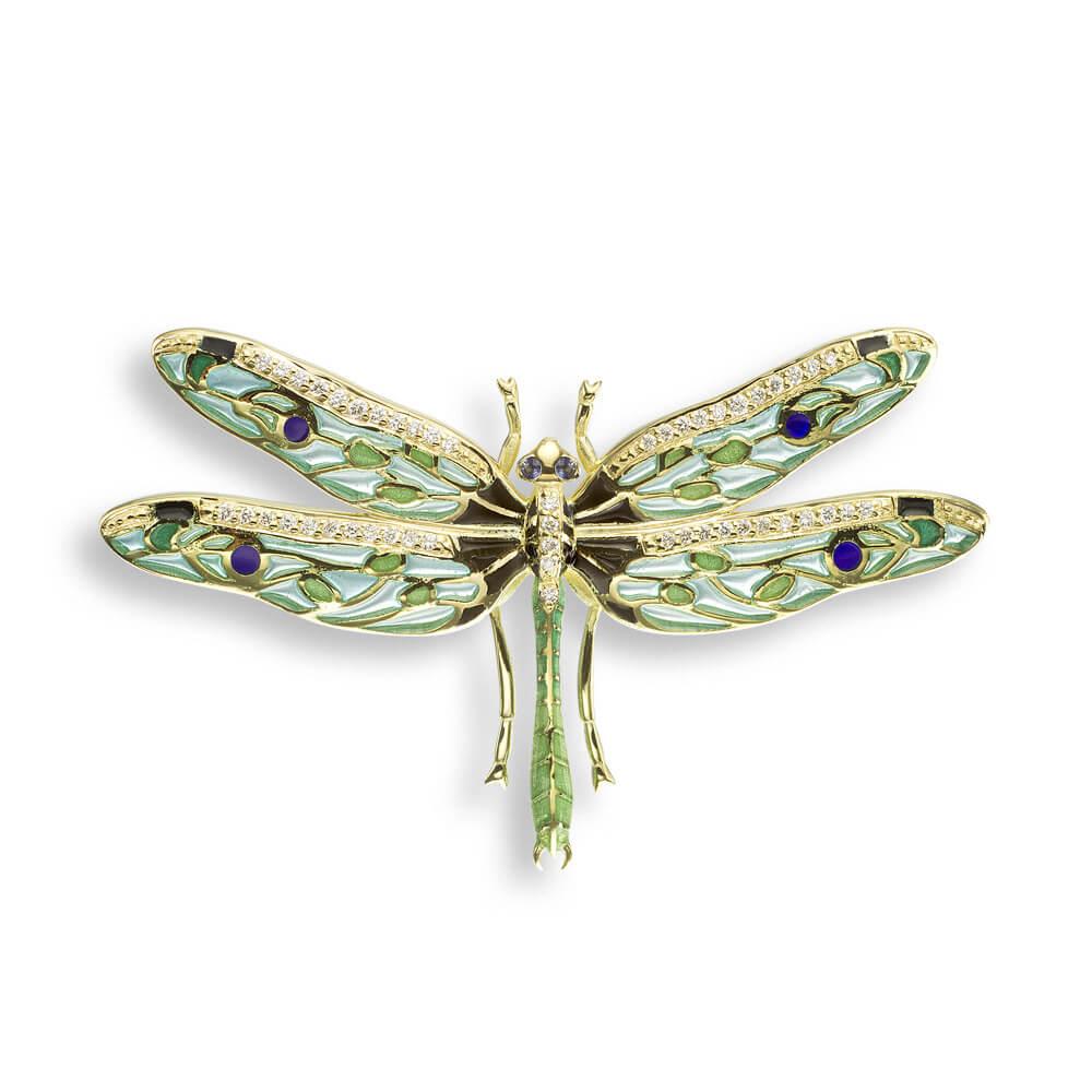 18ct Gold Plique-a-Jour Vitreous Green Enamel Diamond Set Dragonfly Pendant