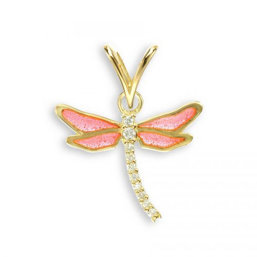 Vitreous Plique-a-Jour Pink Enamel on 18ct Yellow Gold Small Dragonfly Pendant Set with Diamonds.