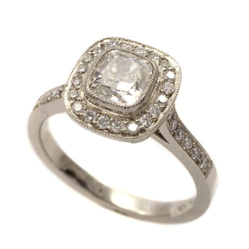 Platinum Halo 0.96ct round brilliant cut diamond ring