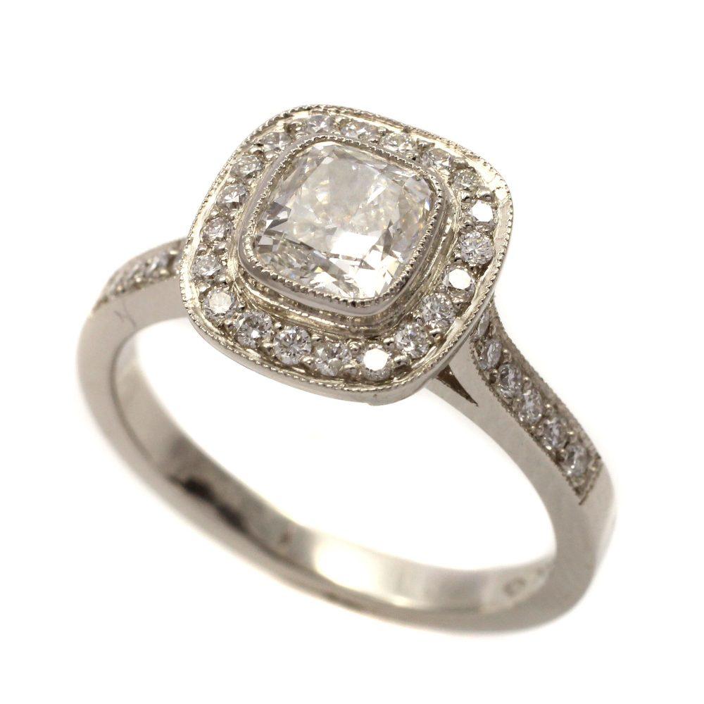 Platinum Halo 0.96ct round brilliant cut diamond ring