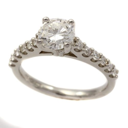 Platinum 4 claw wedd fit 1.02ct diamond ring with diamond set shoulders