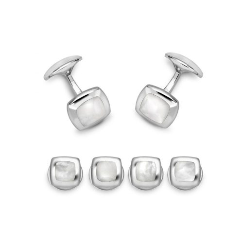 Deakin & Francis Sterling Silver Cushion Dress Stud Set Mother of Pearl