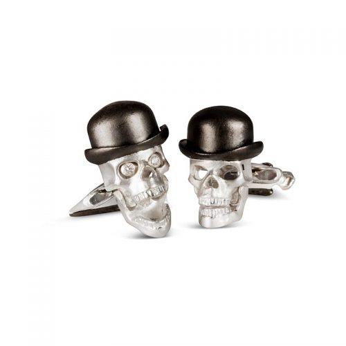 Deakin & Francis Sterling Silver Skull Cufflinks with Diamond Eyes, Bowler Hat & Umbrella