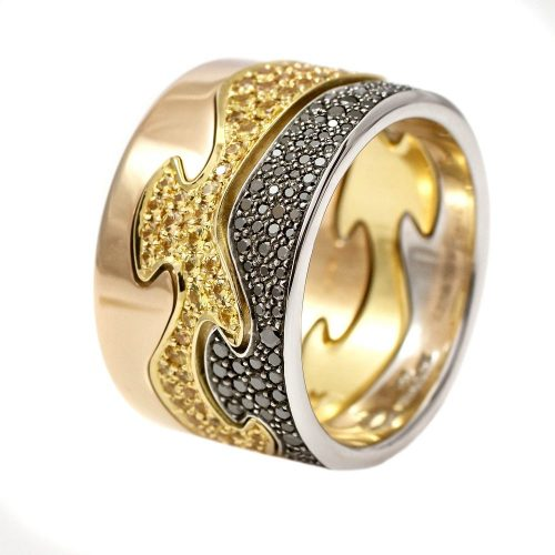 Georg Jensen Fusion 3 Piece 18ct White Yellow Rose Gold Rings With Pave Yellow Sapphires & Black Diamonds
