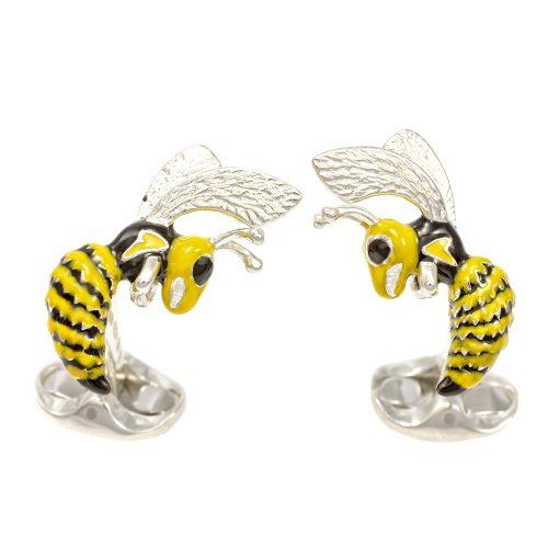 Deakin & Francis Sterling Silver & Enamel Hornet Cufflinks