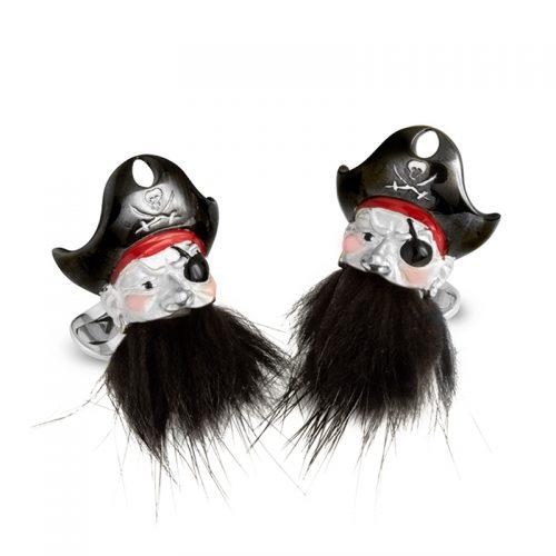 Deakin & Francis Sterling Silver Pirate Cufflinks with Hairy Beard