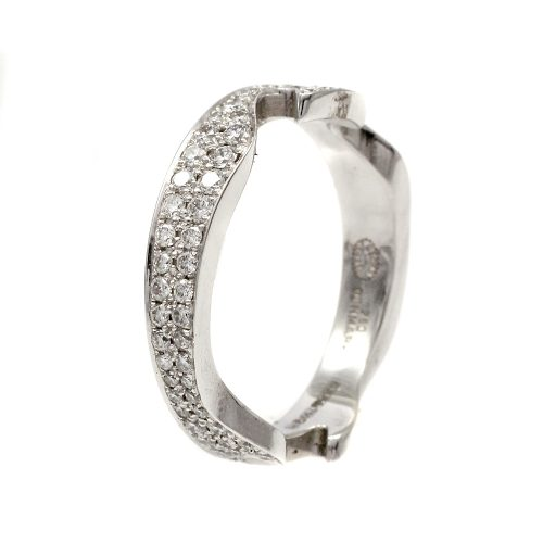 Georg Jensen Fusion 18ct White Gold End Ring With Pave Diamonds Size 52