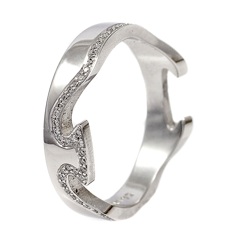 Georg Jensen Fusion 18ct White Gold Ring With Pave Diamonds Size 54