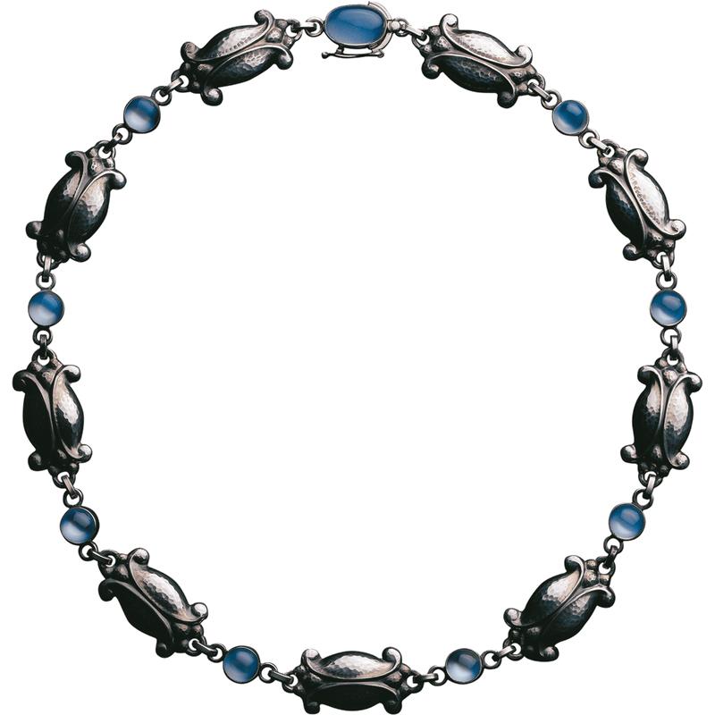 Georg Jensen Moonlight Blossom Necklace 15 Sterling Silver & Moonstone