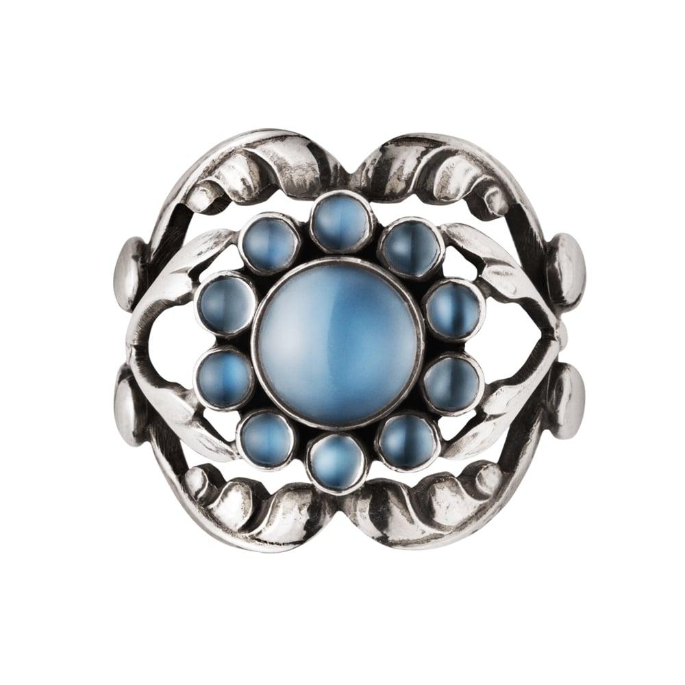 Georg Jensen Moonlight Blossom Ring 10 Sterling Silver & Moonstone