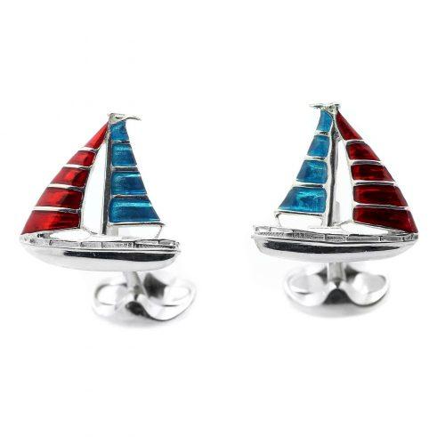 Deakin & Francis Sterling Silver & Enamel Yacht Cufflinks