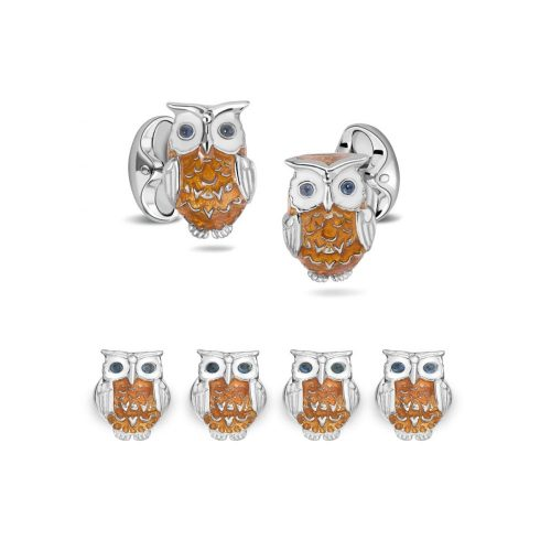 Deakin and Francis Sterling Silver Brown Owl Cufflinks & Dress Studs With Sapphire Eyes