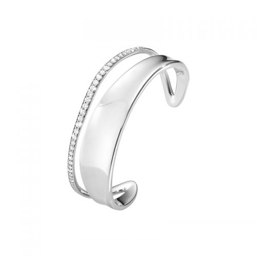 Georg Jensen Marcia Bangle Sterling Silver With Brilliant Cut Diamonds