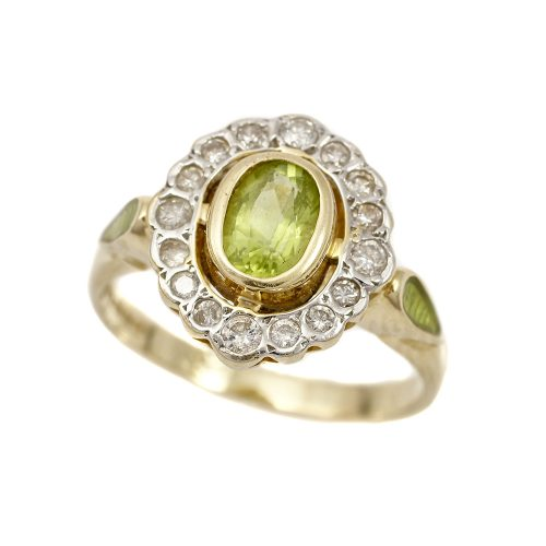 Royal Doulton 14ct Gold Peridot & Diamond Ring Limited Edition With Box & COA Size K