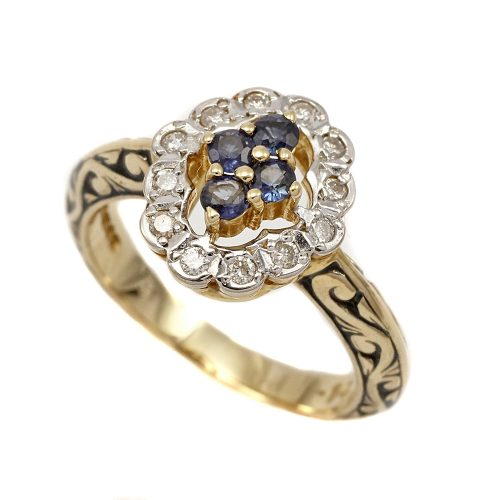 Royal Doulton 14ct Gold Diamond & Sapphire Ring Limited Edition With Box & COA Size L