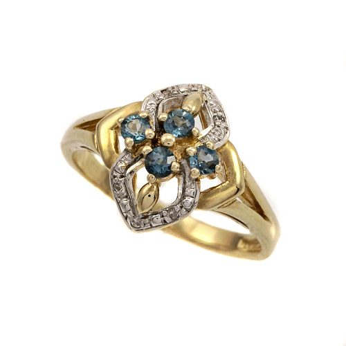 Royal Doulton 14ct Gold Blue Topaz & Diamond Ring Limited Edition With Box & COA