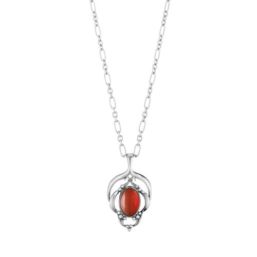 Georg Jensen 2016 Heritage Pendant Oxidised Sterling Silver With Carnelian