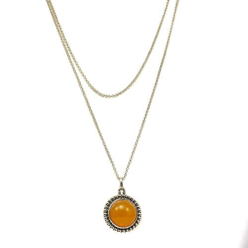 Georg Jensen Moonlight Blossom Pendant Sterling Silver & Orange Chalcedony