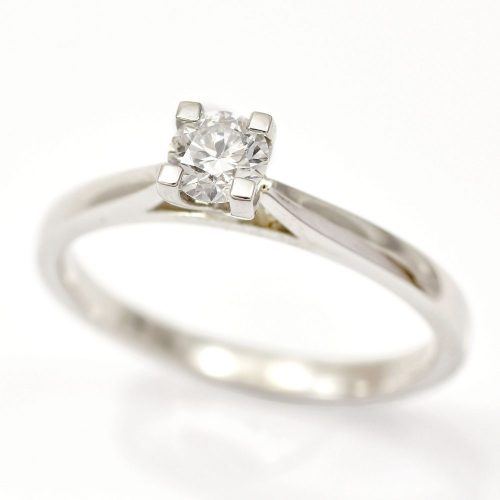 Platinum Diamond Solitaire Round Brilliant Cut 0.30ct Wedfit Setting