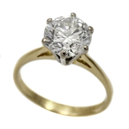 18ct Gold Diamond Solitaire Ring 2.01ct Round Brilliant Cut