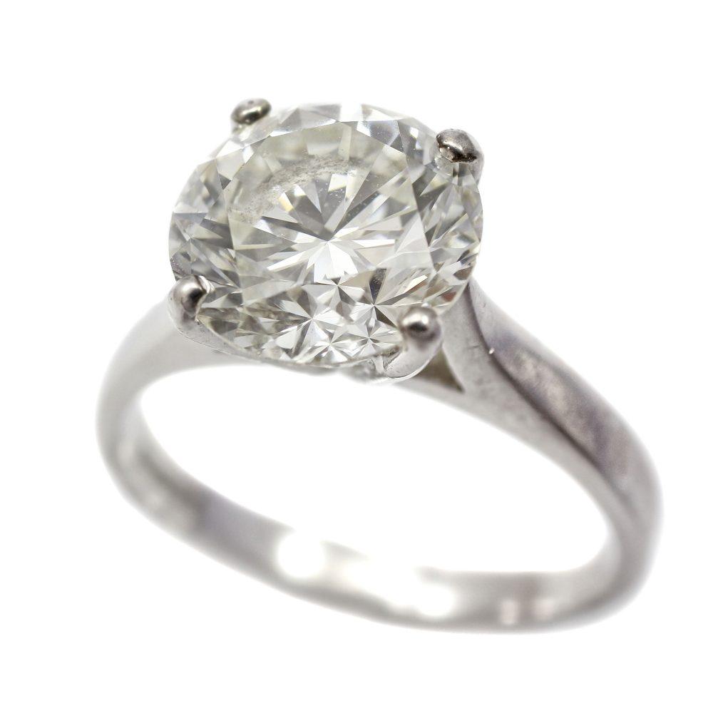 Platinum Diamond Solitaire Round Brilliant Cut 3.06ct