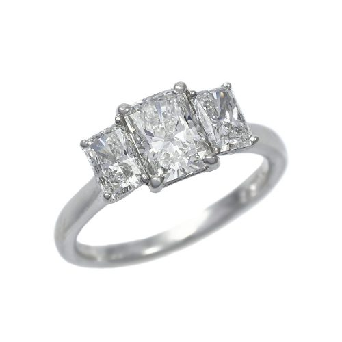 Platinum 3 Stone Diamond Ring 1.70ct Radiant Cut Diamonds