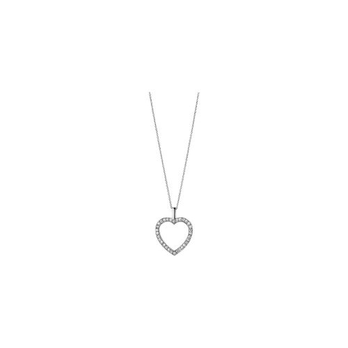 Georg Jensen 18ct White Gold Diamond Heart Pendant & Chain