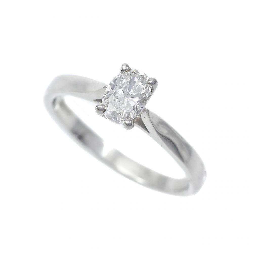 Platinum Oval Cut Diamond Solitaire Ring 0.55ct