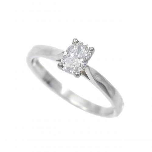 Platinum Oval Cut Diamond Solitaire Ring 0.55ct