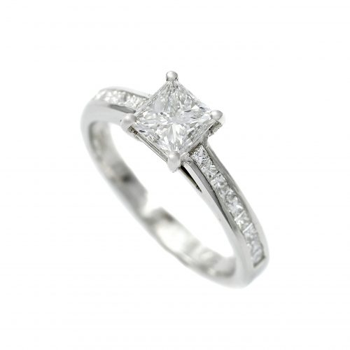 Platinum Diamond 0.80ct Solitaire Ring Princess Cut With Channel Set Diamond Shoulders