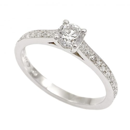 Platinum Diamond Solitaire Ring 0.24ct With Diamond Set Shoulders
