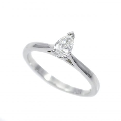 Platinum Pear Cut 0.40ct Diamond Solitaire Ring