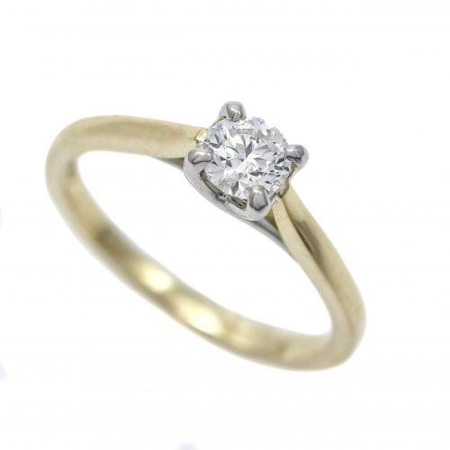 Diamond Solitaire Ring 0.40ct 18ct White & Yellow Gold