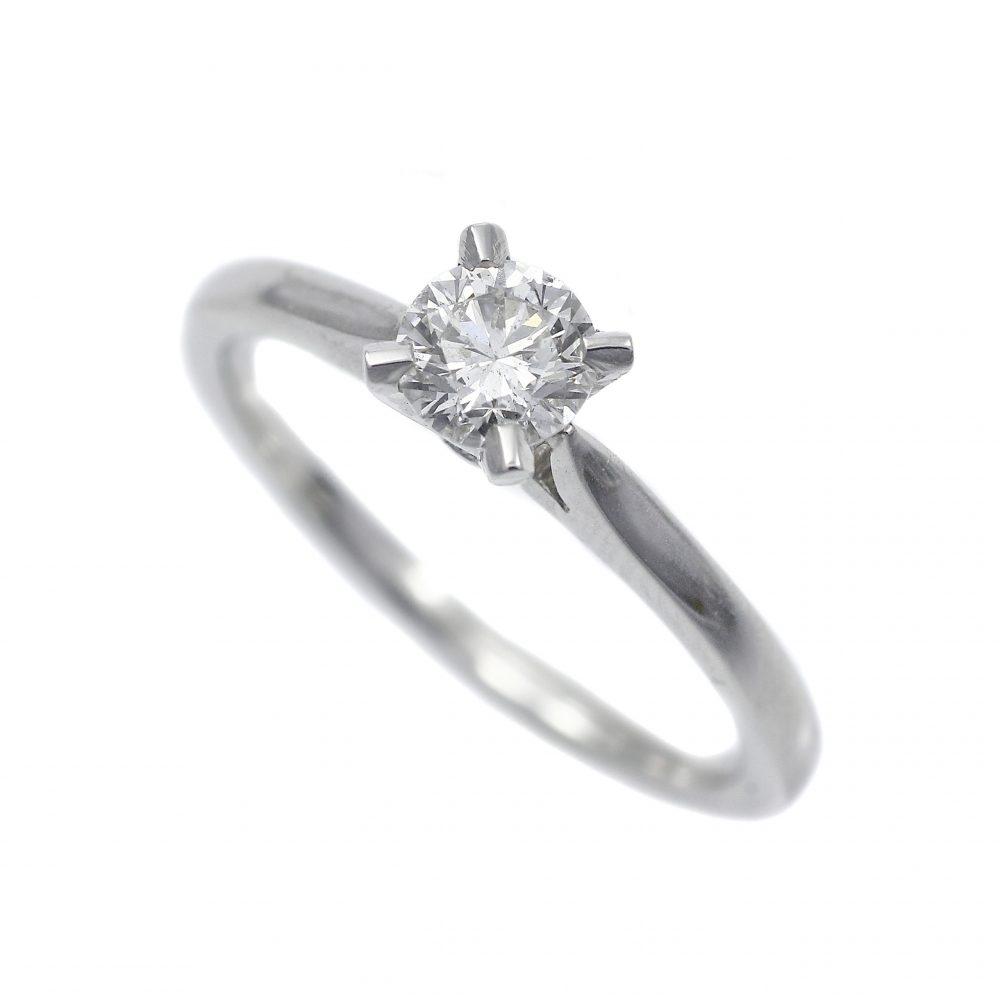 Platinum Diamond Solitaire Ring Round Brilliant Cut 0.40ct