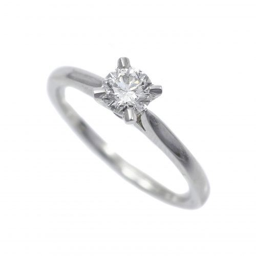 Platinum Diamond Solitaire Ring Round Brilliant Cut 0.40ct