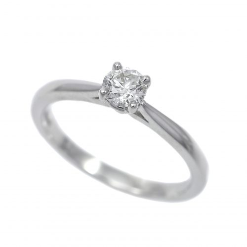 Platinum Diamond Solitaire Ring Round Brilliant Cut 0.33ct