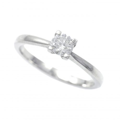 Platinum 0.40ct Diamond Solitaire Ring Round Brilliant Cut