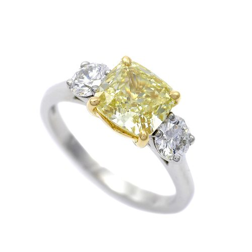Yellow Diamond 3 Stone Ring Platinum & Yellow Gold Cushion Cut 2.0ct