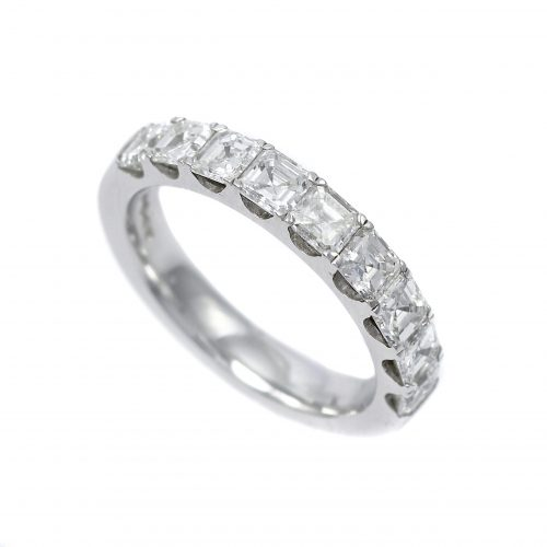 Platinum Asscher Cut Diamond Half Eternity Ring 1.75ct